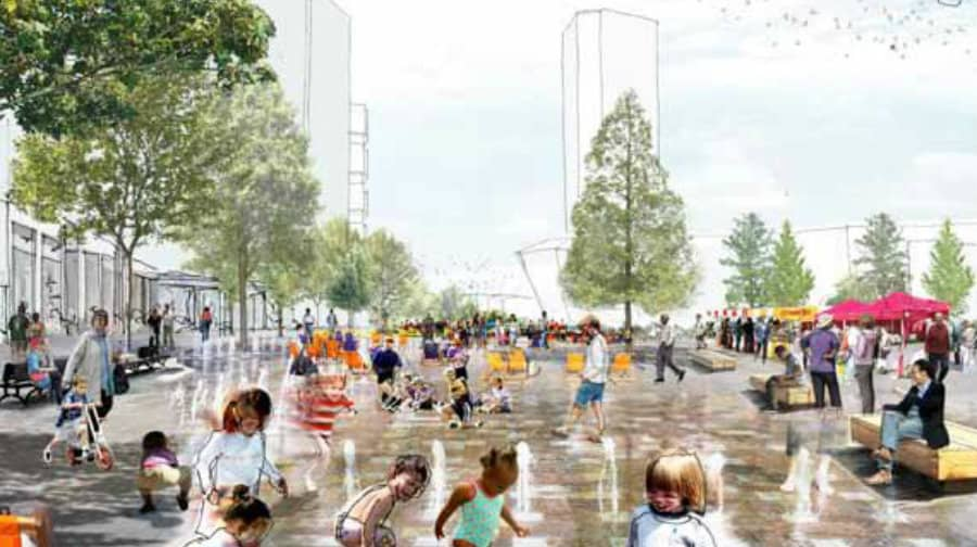 An artist's impression of the new Canada Water town centre