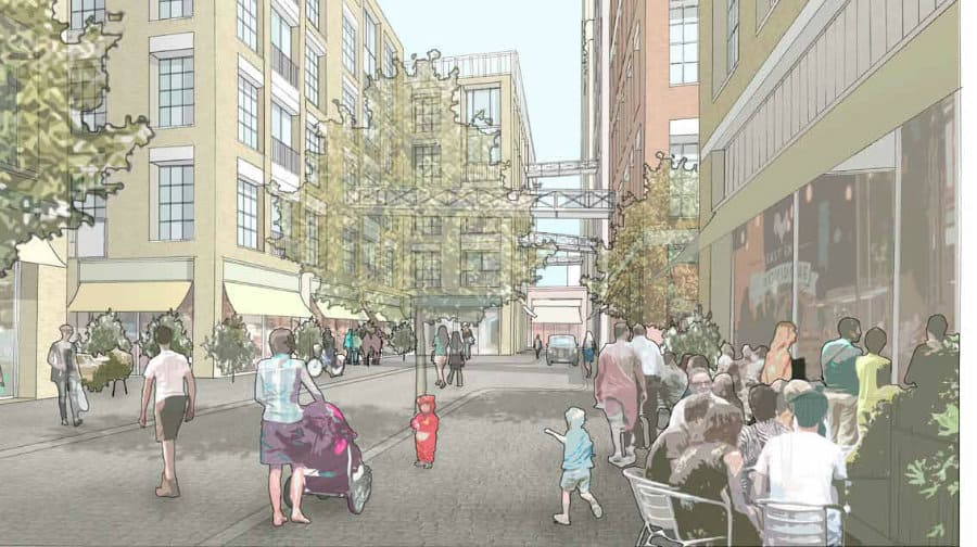 An artist's impression of the new high street, called 'The Lanes'