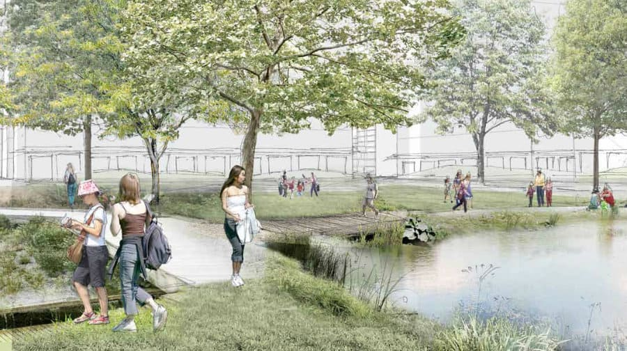An artist's impression of the new park, which will be located at the heart of the residential neighbourhood