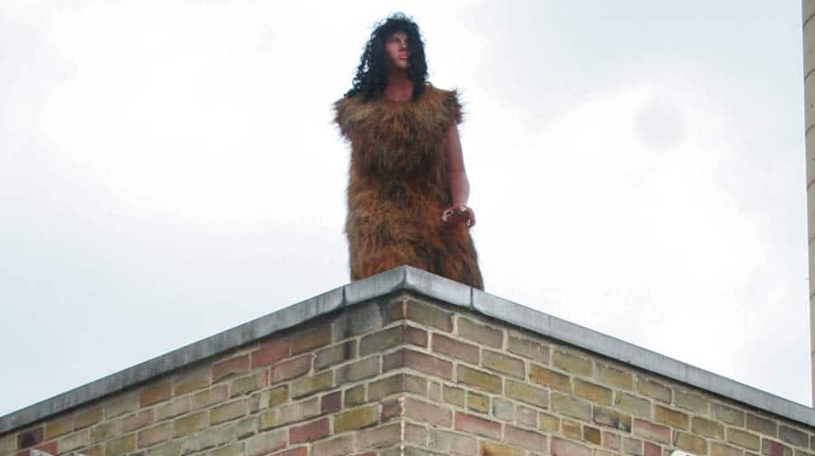 Bermondsey goes back to the Ice Age as �caveman� appears on garage roof