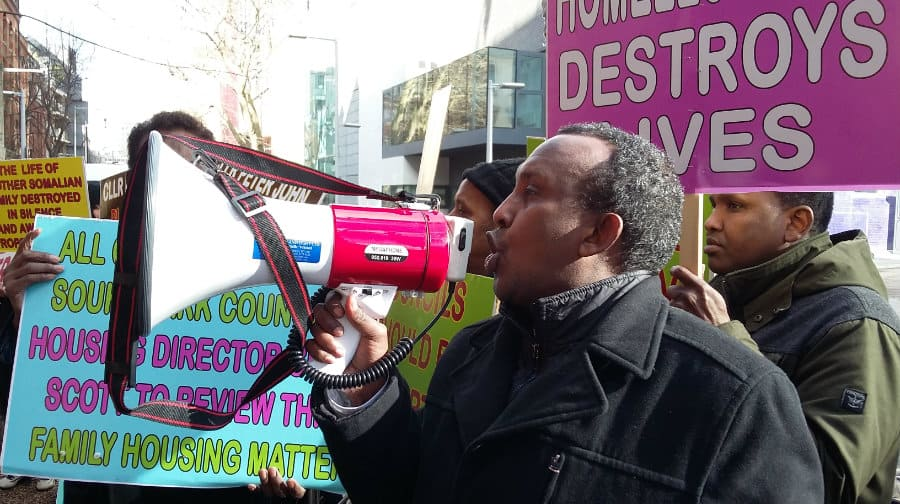 Protesters condemn the council for evicting family of nine