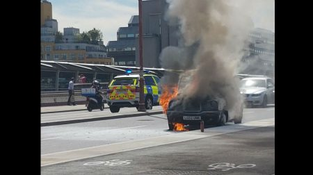 Taxi in flames on Blackfriars Road