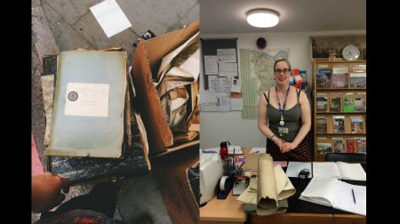 (L-R) Boxes of history and Dr Patricia Dark of the Local History Library (Credit - @nfkadam)