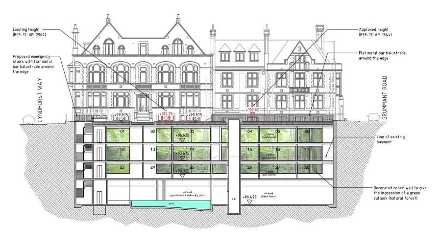 Front Elevation With Basement : Peckham hotel plans a four floor subterranean basement