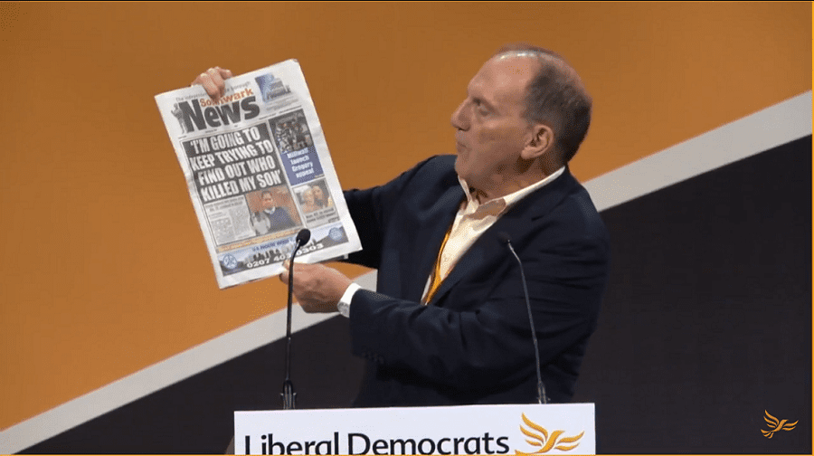 Sir Simon Hughes speaking at the Liberal Democrat autumn conference in Bournemouth in 2017