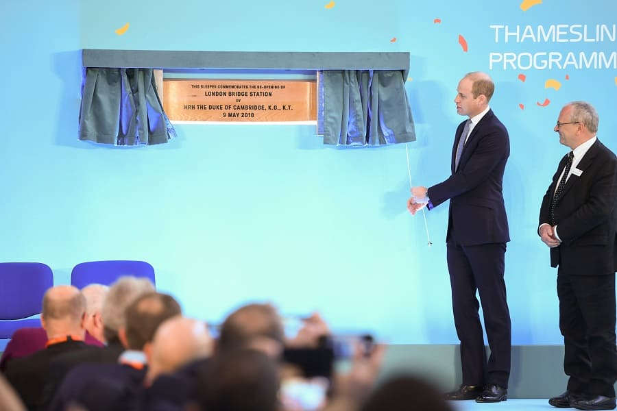 Prince William unveils a plaque at the official opening of London Bridge station after a five-year £1billion revamp