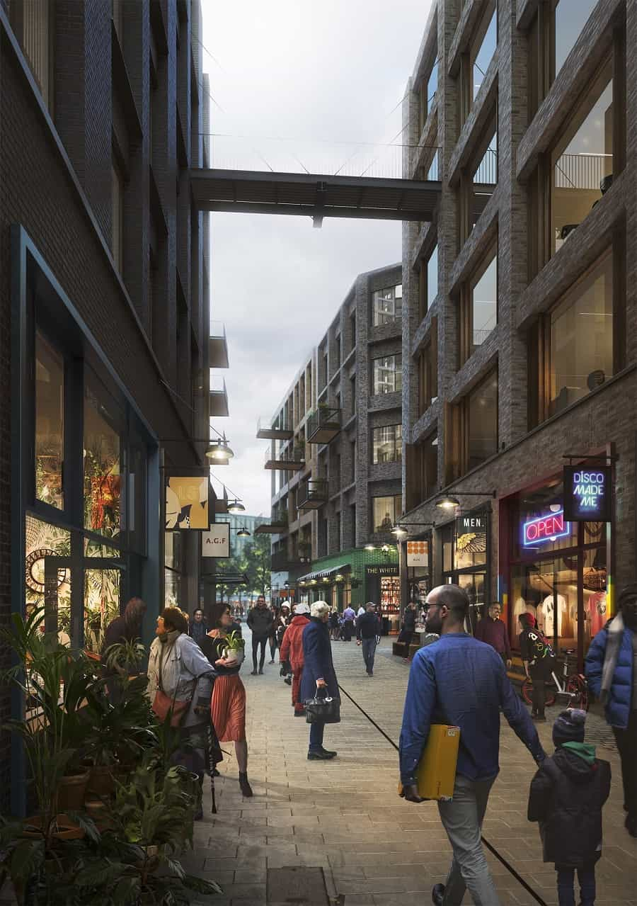 Artist impression of 'The Cuts' shopping area included in British Land's Canada Water Masterplan