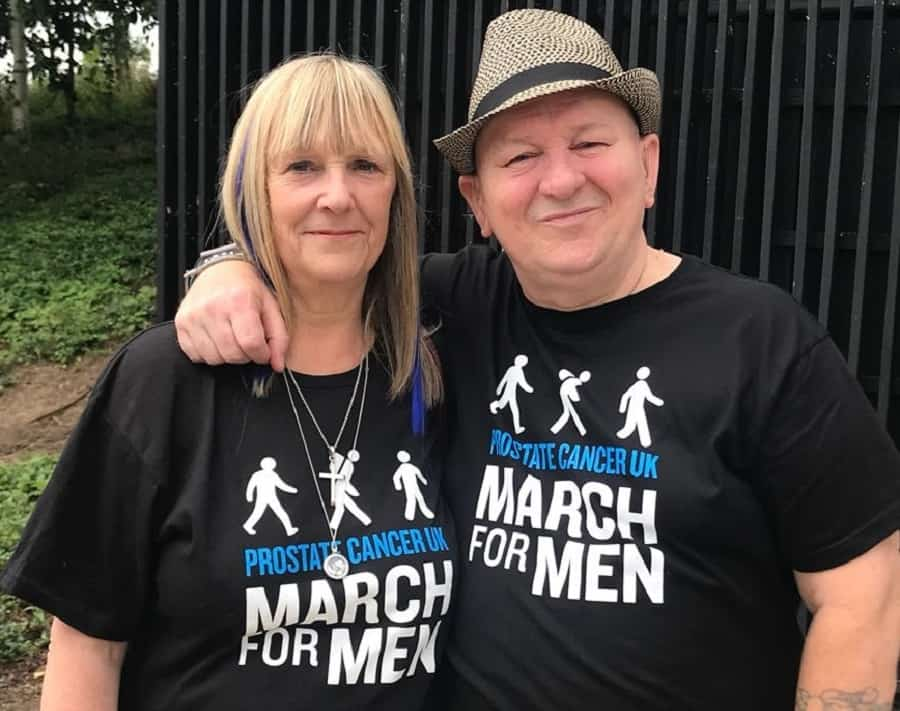 Jon Lia, who has been given the all-clear from prostate cancer, pictured with his wife Sue