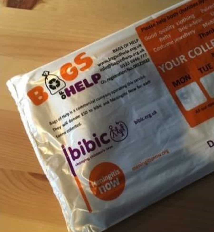Meningitis Now and bibic are warning the public over fake charity collection bags featuring their logos