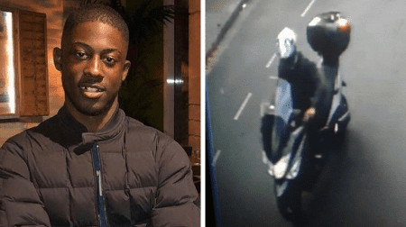 Southwark teenager Latwaan Griffiths, 18, died after being found with stab wounds in Denmark Road, Camberwell. Police want to speak to the moped rider pictured who is believed to have dropped Latwaan off.