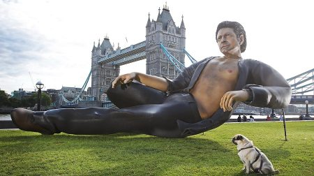 NOW TV recreates Jurassic Park scene with 25ft statue of Jeff Goldblum to mark 25 years since it hit the big screen