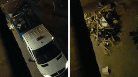 Video footage shows a council refuse truck dumping piles of rubbish on an estate in Peckham in the middle of the night
