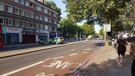 A male cyclist was taken to hospital with leg injuries following a collision involving a lorry in Jamaica Road, Bermondsey (Chris Wragg)