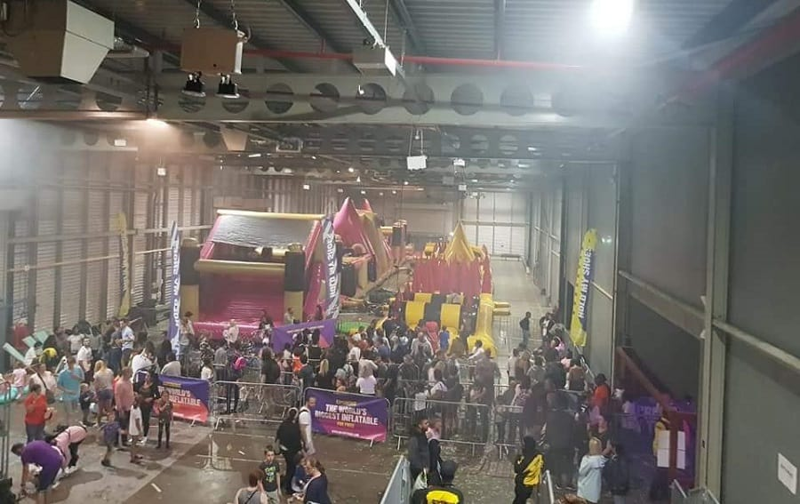 The Beast - a 900ft inflatable - had to be split in two to fit inside the venue (Sarah Webb)