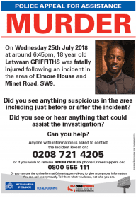 Leaflet distributed about the 18-year-old's murder