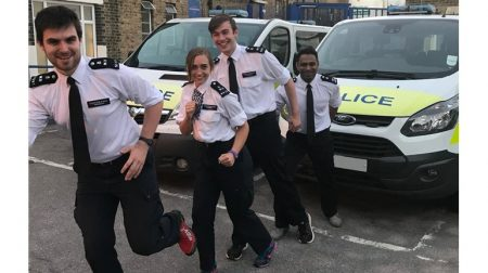 Michael alongside Special Constables, Emily Turner, Oli Laurie and Stanley Colaco