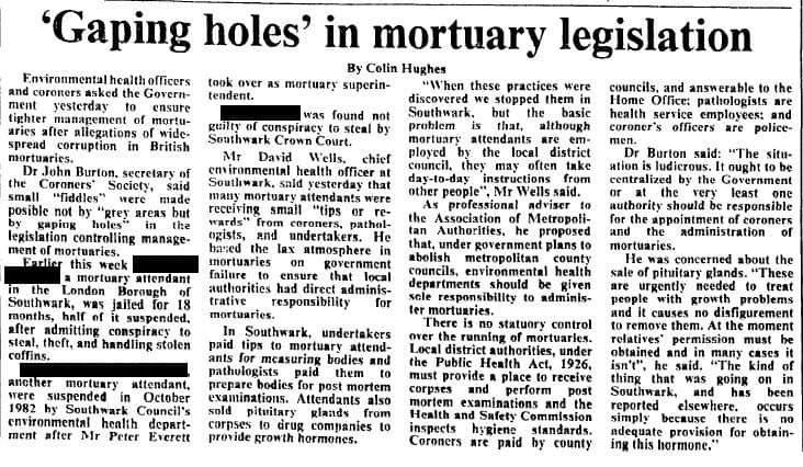 The 1980s Southwark mortuary scandal which saw corpses ...