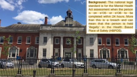 The Maudsley Hospital in Denmark Hill; inset: A warning to the hospital's board that Section 136 breaches are a legal risk