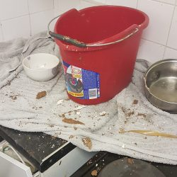 A bucket catching water, and bits of the ceiling, in the Tissington Court flat