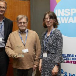 Barry receives his award from Chris Askew, chief executive of Diabetes UK and Caroline Marshall, Director of Operations at Diabetes UK