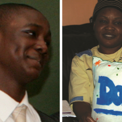 David Idowu and his mother Grace Idowu (right)
