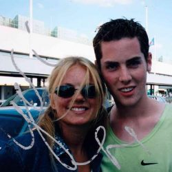 Malcolm Meeting Geri Halliwell for the first time, at Heathrow, in summer 1999, just after finishing his GCSEs