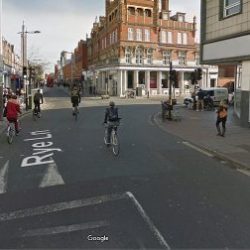 Generic image of the junction of Rye Lane and Hanover Park (Google street view)