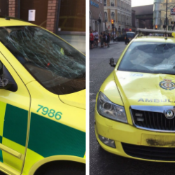 A London Ambulance Service car was damaged during World Cup celebrations in Borough High Street (London Ambulance Service)