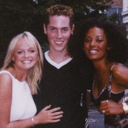 With Emma and Mel B, outside a Spice Girls recording session at Abbey Road, 1999
